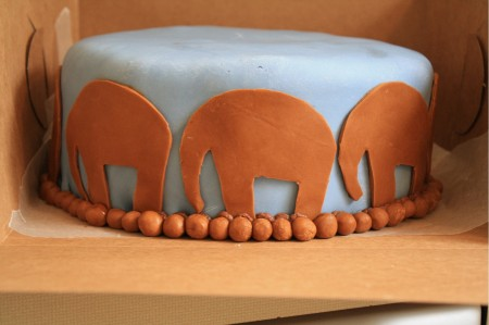 Fondant Elephant Cutouts for Baby Shower Cake