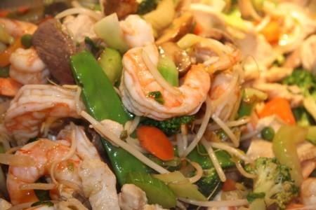 Stir Fry with Chicken, Shrimp, Filet & Veggies.