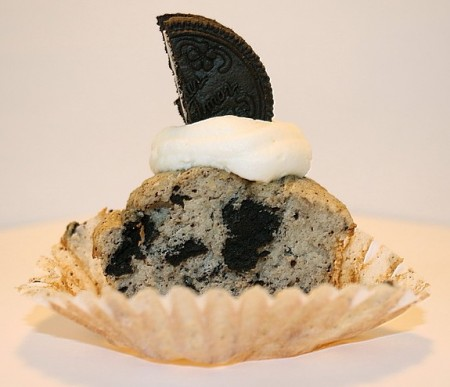Inside of a Cookies and Cream Cupcake