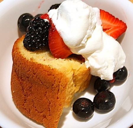 Sugar Free Splenda Pound Cake With Berries and Whipped Cream