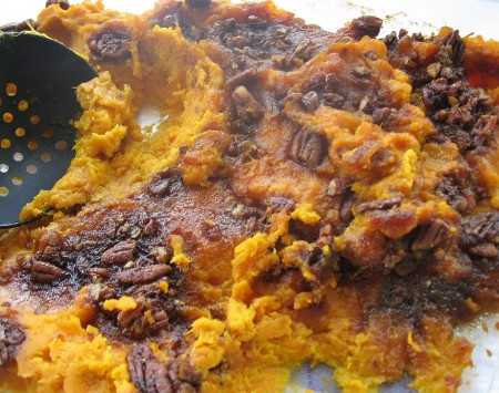 Mashed Sweet Potatoes With Pecan Topping