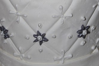 Fondant that has a quilted effect and pearl accents.