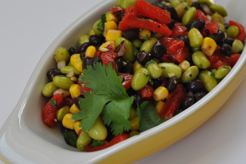 Edamame, black beans, roasted red peppers, corn, cilantro salad