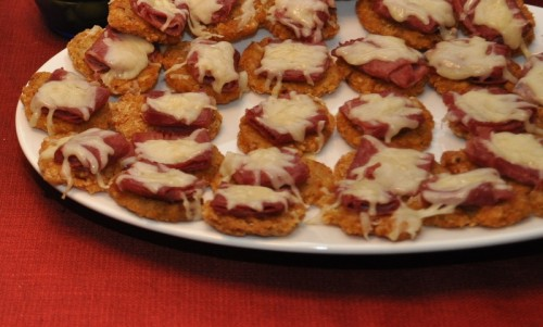 mini potato latke with corned beef and gruyere cheese