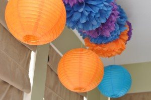 Tissue Paper Pom Poms and Paper Lanterns