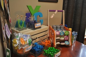 color candy favor table at alphabet kids party